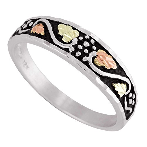 Men's Antiqued Wedding Band, Sterling Silver, 12k Green and Rose Gold Black Hills Gold Motif, Size 10 by Black Hills Gold Jewelry