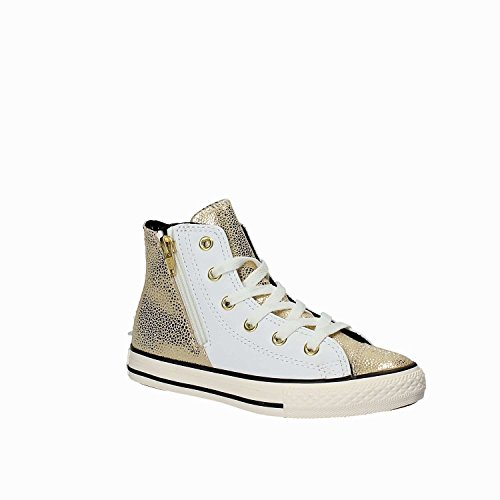 White lace and lateral CONVERSE Girl sneaker sole zipper visible made Child rubber lateral Women White golden and of Girls logo stitching up leather qt5r5Bx