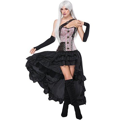 FeelinGirl Damen Korsagekleid Steampunk Gothic Kostüm Magic Mistress Hexenkostüm Teufelchen Halloween Cosplay Priatbraut Rosa(korsage+rock)