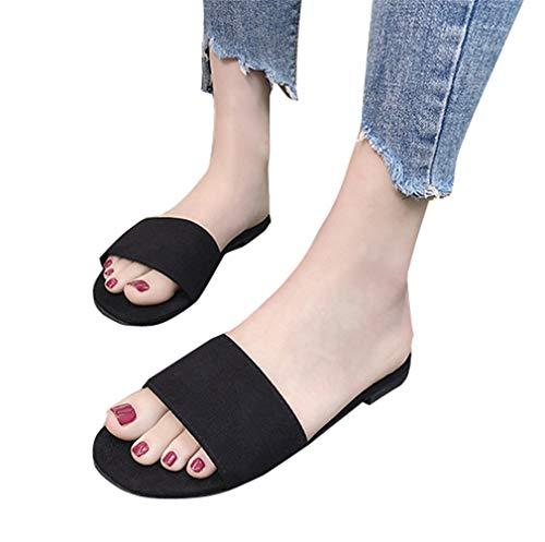 Flat Toe Surface YUCH Toe Black Femme Frosted Couleurs Pantoufles Confortable XwXqSRB
