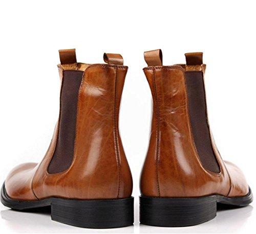 Caviglia Attivit Scarpe Autunno Inverno Stivali balestruccio genuino Corto Marrone Pelle Uomini Moda alto dHUqvdx7