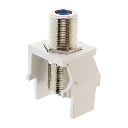 Leviton 41084-FWF QuickPort F-Type Adapter, Nickel-Plated, White ()