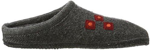 Haflinger Unisex-Erwachsene Walktoffel Geo Pantoffeln Grau (Anthrazit)