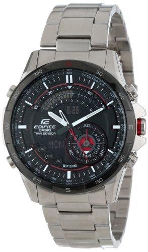 Casio Men's ERA200DB-1A Edifice Twin Sensor Multi-Function Watch (Black Dial Sensor Watch Triple)