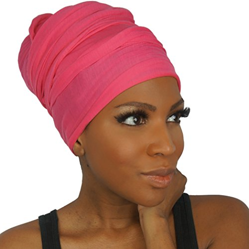 (Headwrap in Stretch Jersey Knit - Long Head wrap Scarf - Vibrant Pink)
