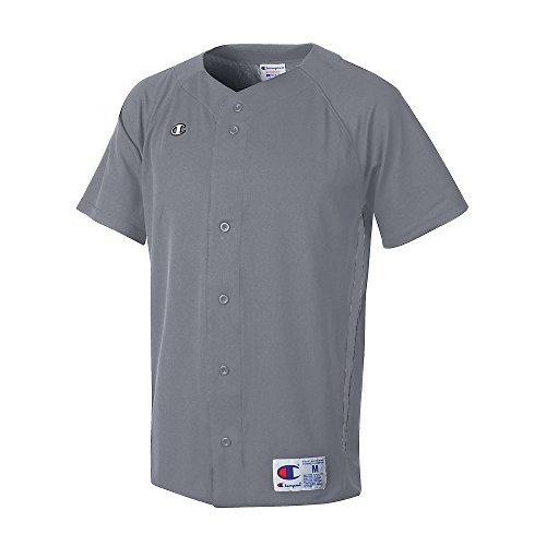 Champion Mens and Youth Prospect Baseball Double Dry® Short Sleeve Full Button Jersey # BS20 Steel Grey