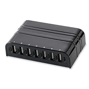 Compucessory Products - USB Hub, 2.0, 7-Port, Black - Sold as 1 EA - USB 2.0 Hub offers seven external, auto speed selectable USB type A downstream ports. Hub connects up to a maximum of 127 USB devices through cascading multiple hubs. Design supports plug and play and hot-swap specification. Hub includes a DC jack and power adapter.