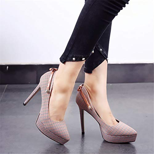 sweet banquet stiletto single YMFIE autumn B pointed heels shoes lattice and fashion shoes European spring bow Y8COw8Fq