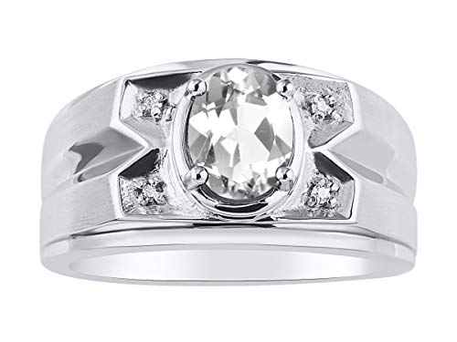 RYLOS Mens Ring with Oval Shape Gemstone Genuine Sparkling Diamonds in Sterling Silver .925-8X6MM Color Stone