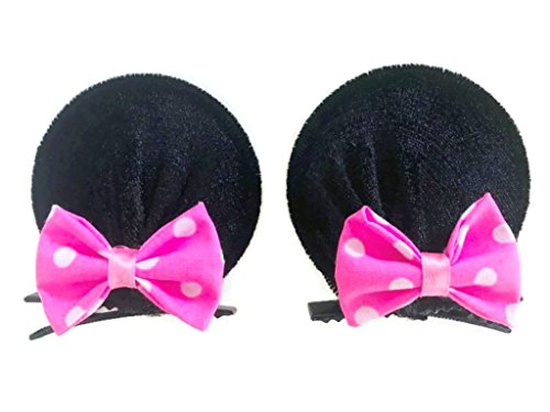 Custom Halloween Contacts (MeeTHan Minnie Mouse Clips Ears Baby Elastic Hair Clips Costume Accessory :M12 (Minnie clip 6 cm))