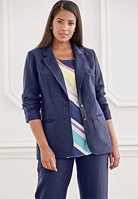 Jessica London Women's Plus Size Single-Breasted Linen Blazer