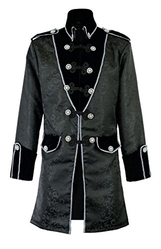 Mens Black Gothic Brocade Jacket Frock Coat Steampunk VTG Victorian (Large, Brocade)