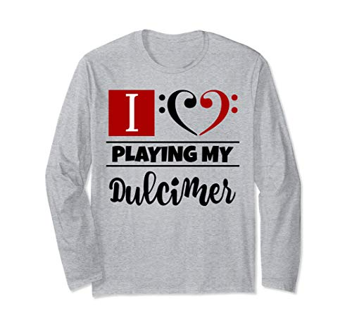 Double Black Red Bass Clef Heart I Love Playing My Dulcimer Unisex Long Sleeve Shirt