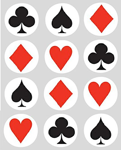 12 Playing Card Suits rice paper fairy / cup cake 40mm toppers pre cut decoration