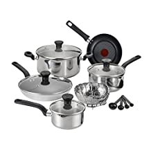 T-fal C911SE Excite Stainless Steel Dishwasher Safe Oven Safe PTFE-PFOA-Free Cookware Set, 14-Piece, Silver