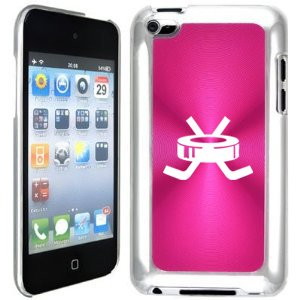 Apple iPod Touch 4 4G 4th Generation Hot Pink B1127 hard back case cover Hockey Puck with Sticks