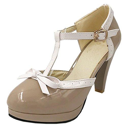 TAOFFEN Mujer Moda Tacon Embudo Alto Correa en T Sandalias Bombas Zapatos con Bowknot Grey