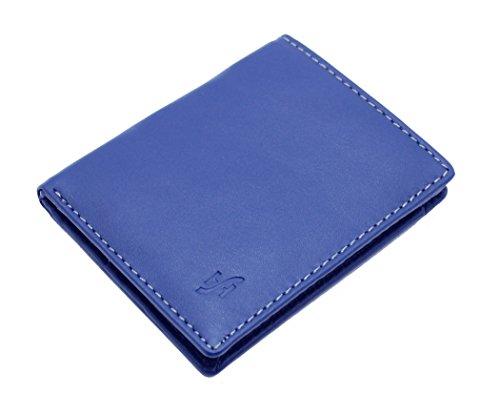 StarHide® Herren Designer Hochwertige Weiche Nappa leder Luxus Geldbörse #1155 (Blau)