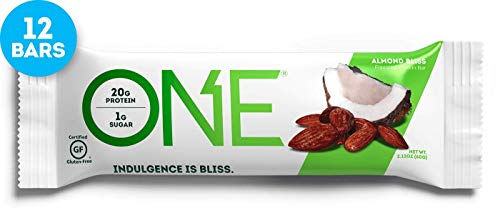 ONE Protein Bars, Almond Bliss, Gluten Free Protein Bars with 20g Protein and only 1g Sugar, Guilt-Free Snacking for High Protein Diets, 2.12 oz (12 Pack)