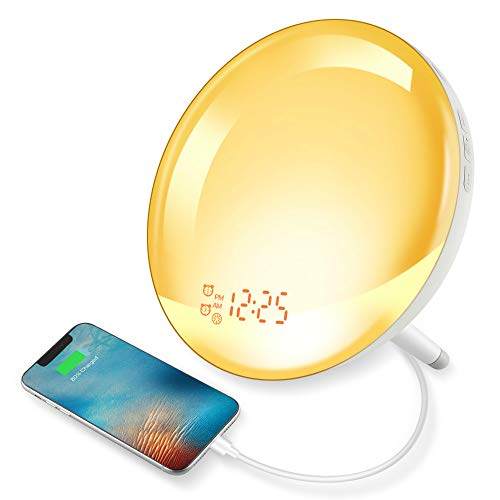 Wake Up Light Alarm Clock, GEEMAK Sunrise & Sunset Simulation 7 Colored Sleep Aid Light with FM Radio, 2 Alarms /7 Natural Alarm Sounds/Snooze/20 Brightness