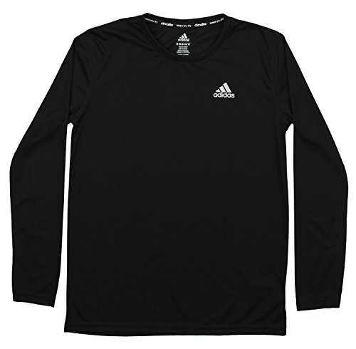 adidas Big Boys' Essential Clima Long Sleeve Tee, Black, Medium/10-12 -
