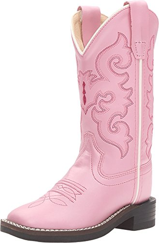 Old West Pink Children Girls Scroll Stitch Cowboy Western Boots 10.5 ()
