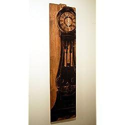 Tall Wall Clock Large Grandfather Clock Art on Solid Wood Planks 60 x 15