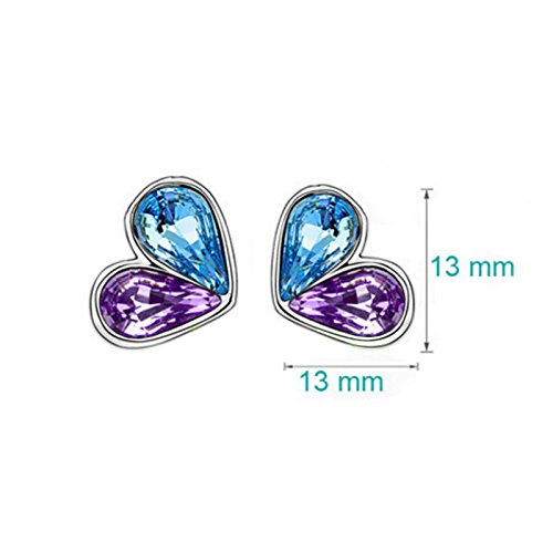 Fasherati Purple and Blue Crystal Firefly Pendant Set with Earrings for Girls