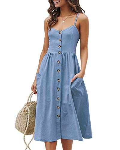 Imysty Womens Summer Spaghetti Strap Button Down Striped Swing Dress with Pockets (Large, T-Sky Blue)