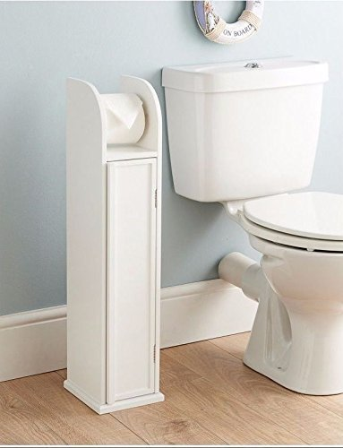 White Wooden Freestanding Toilet Roll Holder Amp Bathroom