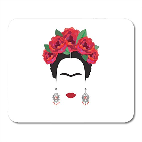 Boszina Mouse pad Black Halloween Portrait of Mexican Spanish Woman Minimalist with Crafts Earrings and Red Flowers Catrina Office Supplies mouses pad 9.5x7.9 Inches Mousepad -