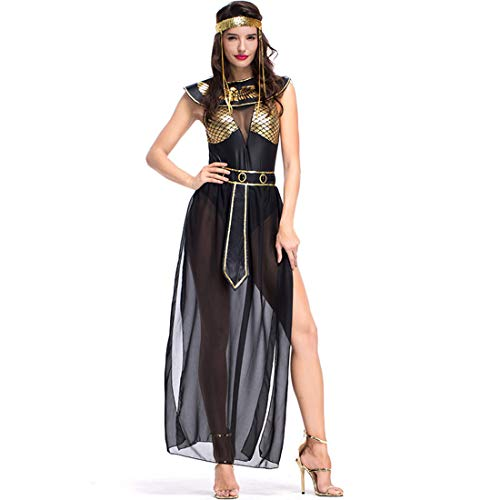 Women Bar Costumes Egyptian Goddess Isis Night Field Ancient Mythology Cos Black]()