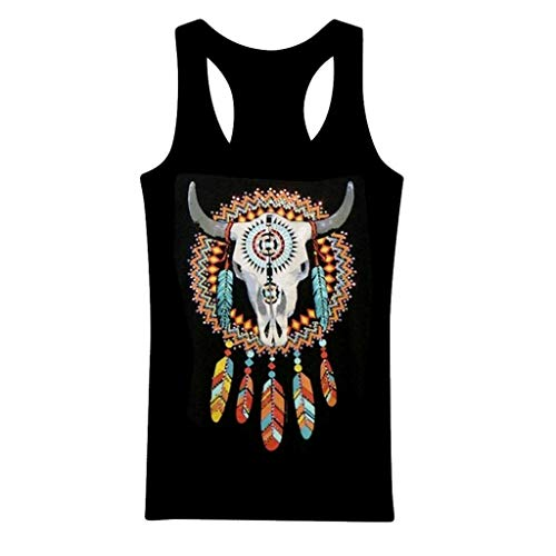 WANQUIY Women Tops Plus Size Western Cowgirl Feathers Rhinestones Tribal Tank Top Tunic Camis Blouses Tee Gray