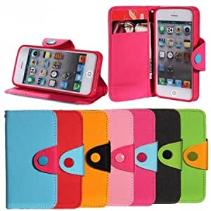 Wallet Leather Case Cover With Magnetic Flap Closure For iPhone 5 --- Color:Red