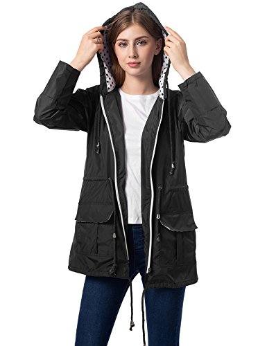 Romanstii Womens Rain Jackets Waterproof Plus Size Coats with Hood Lightweight Black ()
