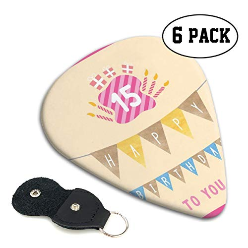 Guitar Picks 6 pcs,Pastel Colored Framework Flags Presents And Candles Greeting