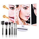 N-LIfe Lighted Makeup/Vanity Mirror With Free Brushes Christmas Gift 22 LED Lights Touch Screen Tri-Fold 3X/2X Magnification Spot Mirror 180° Rotation for Countertop Cosmetic Bathroom Clarity White