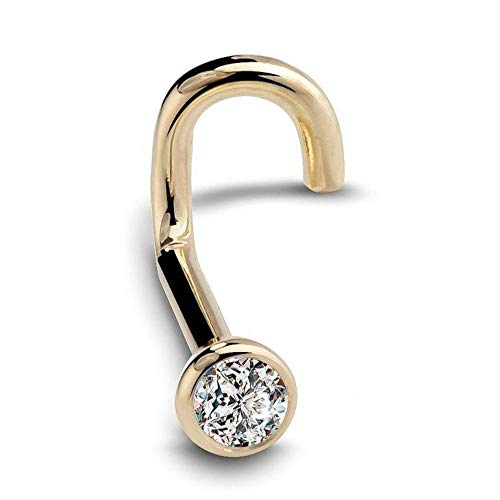(Women's Diamond Flush Bezel Set 14K Gold Nose Ring Stud Twist Screw 0.07 ct SI1 Clarity 20 Gauge)