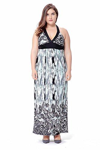 Vestido de verano maxi cuello colgante vacaciones de playa vestidos de falda larga , xxxl , green