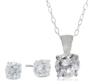 Sterling Silver Cubic Zirconia Round-Cut Solitaire Earrings and Pendant Set, 18""