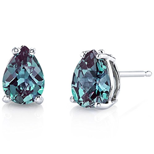 (14 Karat White Gold Pear Shape 1.75 Carats Created Alexandrite Stud Earrings)