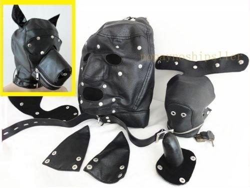 [LEATHER GIMP DOG Puppy Hood Full Mask Mouth Gag Costume Party Mask ZIPPED MUZZEL] (The Gimp Costume)