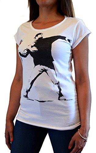 """""""BANKSY Flower Thrower"""" Faces T-shirt Damen MADE IN ITALY Street Art Handserigraphie mit Wasser."""