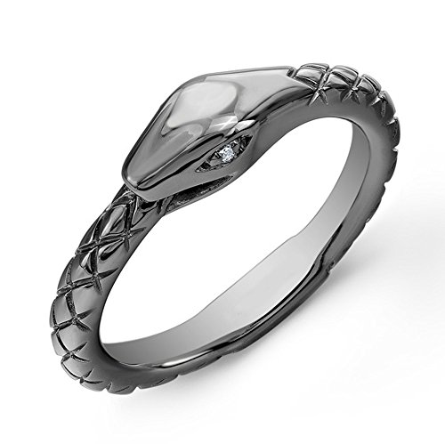 Victoria Kay White Diamond Accented Snake Ring in Black Rhodium-Plated Sterling Silver, Size 6 (Black White Snake Ring)