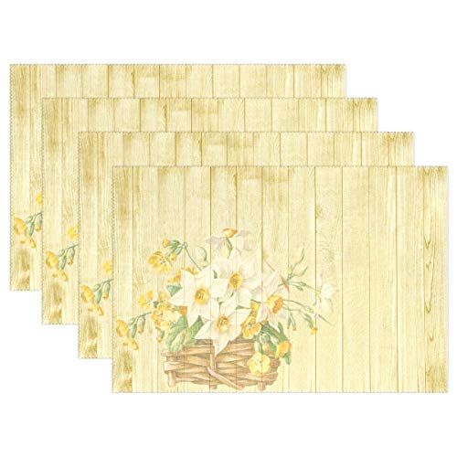 VNASKL Easter Spring Flowers Basket Nostalgic Placemats Set of 4 Heat Insulation Stain Resistant for Dining Table Durable Non-Slip Kitchen Table Place Mats ()