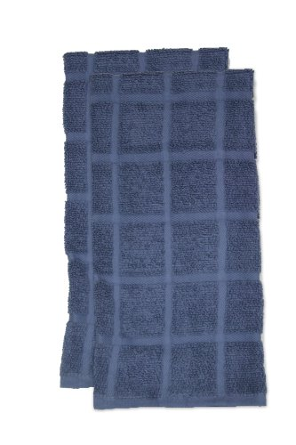 RITZ KitchenWears Cotton Solid Oversized Kitchen Dish Towel Set, 2-pack, Federal Blue - John Ritzenthaler Towel