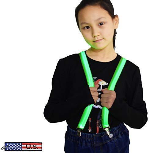 LED Light Up Glowing Heavy Duty Clip Suspenders for Children Boys Kids costume (Green- Kids Size)