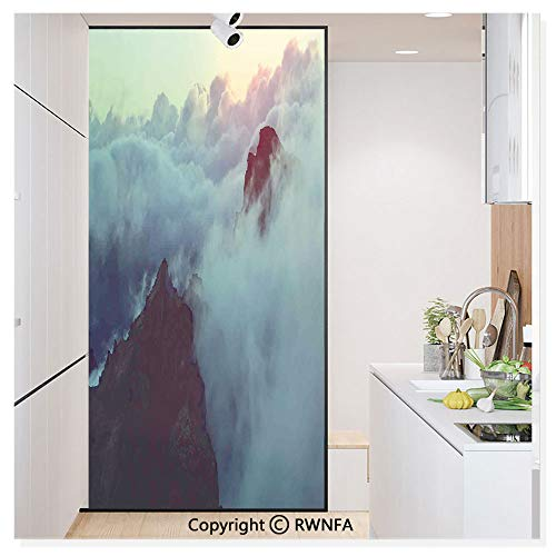 - Window Glass Sticker Door Mural Hills in The Large Cumulus Clouds Magical View Mountains Tranquility Nature Theme Static Cling Privacy No Glue Film Home Decorative 11.8x59.8inch,Blue Brown