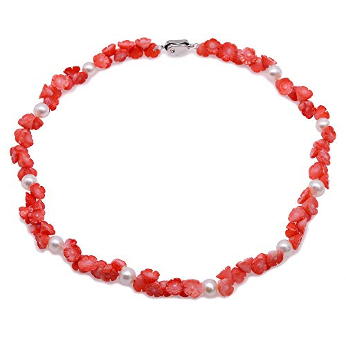 Pink Natural Coral Flower (JYXJEWELRY Double Strand 8.5-9.5mm Pink Flower Coral Necklace Handmade Carved Coral Necklace with White Pearl 19
