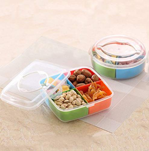 Wall of Dragon Household four-point candy fruit dish snack lid with lid-shaped container decorated plastic compartment food tray by Wall of Dragon